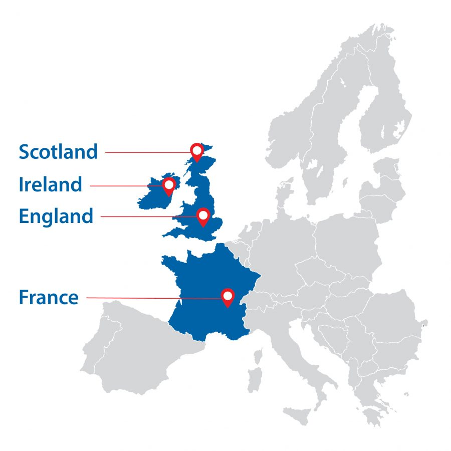 VetStrategy Map - Scotland, Ireland, England, France
